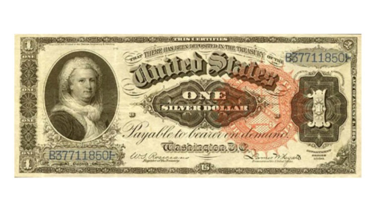 The only woman that has appeared on a U.S. paper currency is Martha Washington.