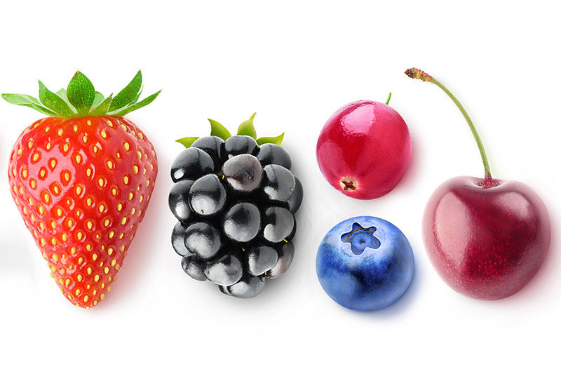 Grapes, cherries, and strawberries