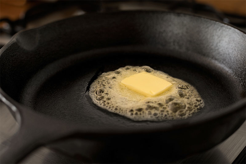 Coat the pan with butter