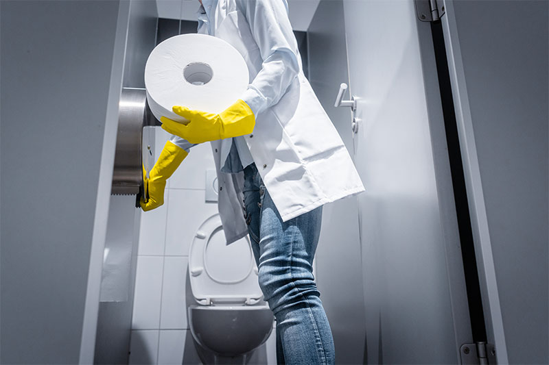Talk to building management restroom cleaning