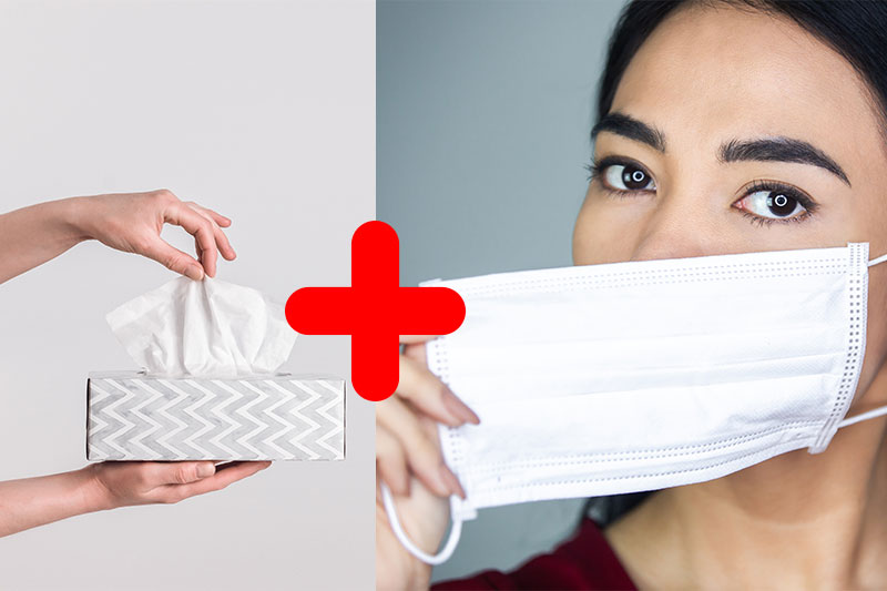 Tuck a small tissue into the mask