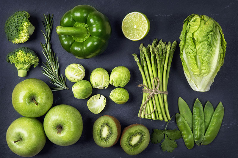 Green fruit and vegetables