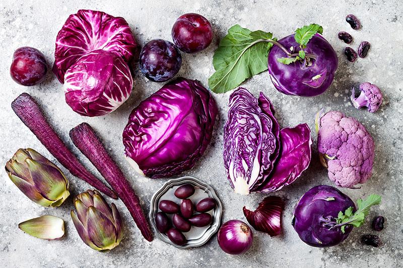 Violet fruits and vegetables
